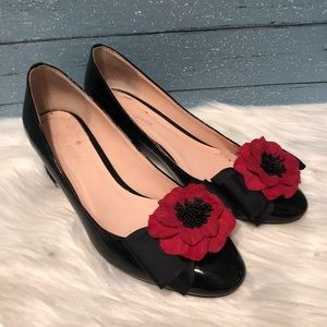 Kate spade blk patent leather floral sparkle heels